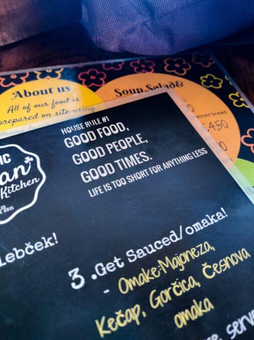 menu ristorante public & vegan kitchen