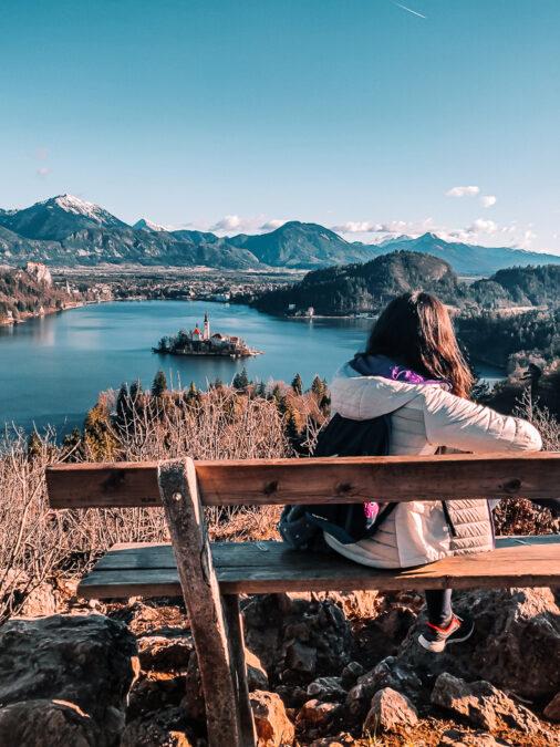 vista del lago di bled da mala ojstrica slovenia